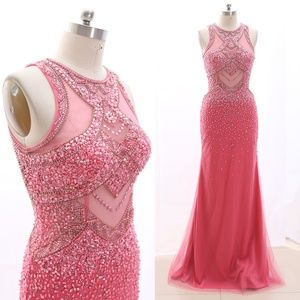 Sheath Luxury Pageant Prom Gown Formal Evening